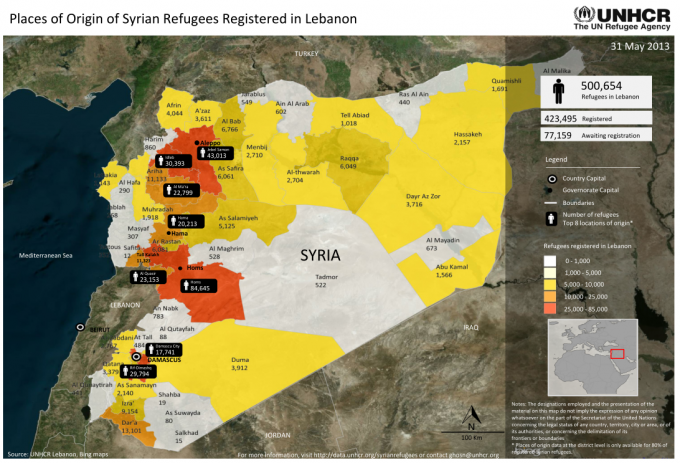 150382-Origin of Syrian Refugees in Lebanon 31May2013