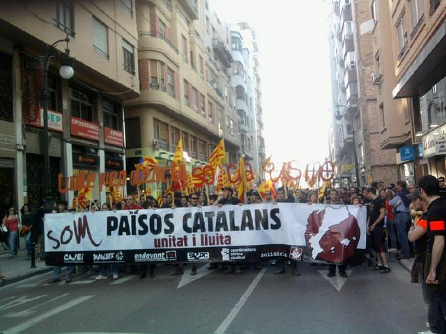 Capçalera de l'essquerra independentista a la manifestació de València