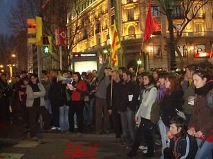 La manifestació aturada a la Rambla. Foto: PRA