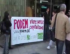 Acció de suport a Enric Duran durant la setmana de boicot als bancs