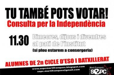 El SEPC trasllada el debat sobre l'autodeterminació a l'IES Martí Franqués de Tarragona
