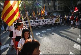 Capçalera de la manifestació de la Diada. Foto: Oriol Clavera