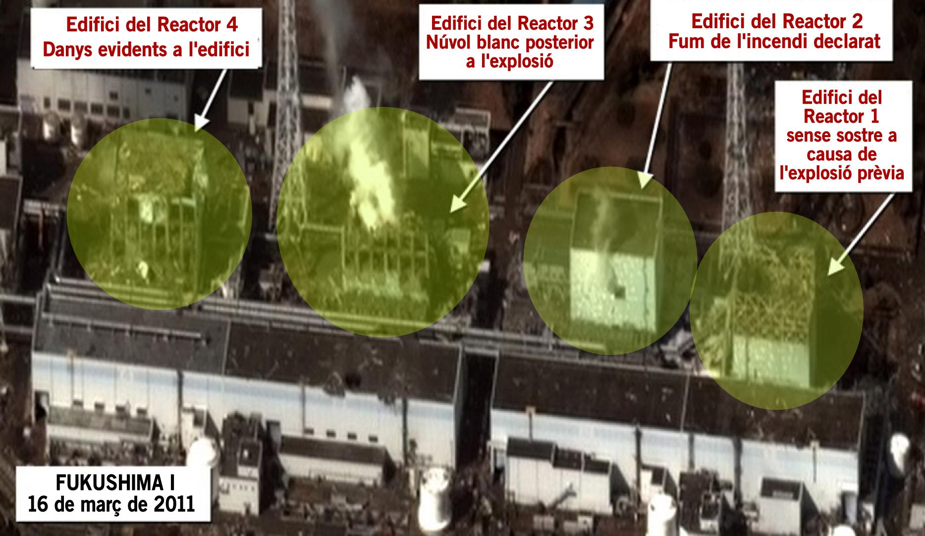 els 4 reactors més danyats