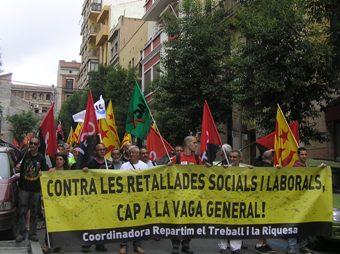 Manifestació a Tarragona de la Coordinadora Repartim el Treball i la Riquesa