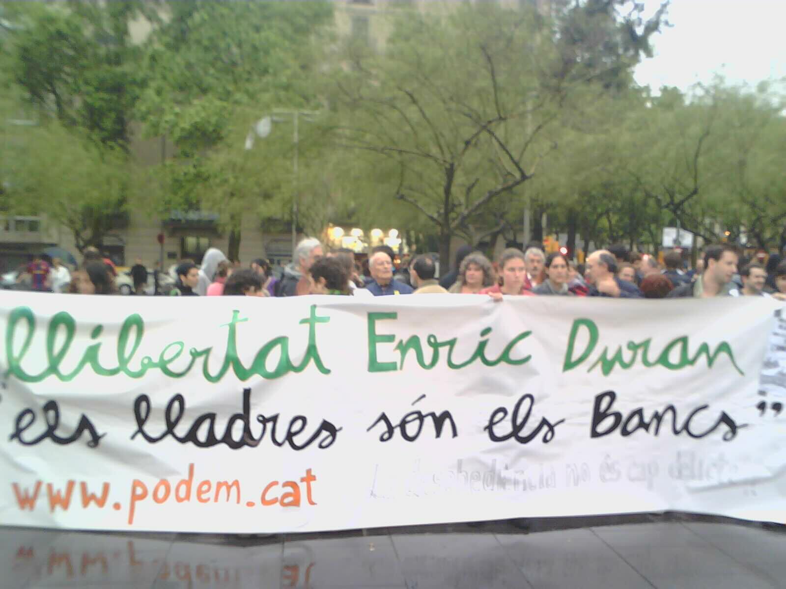 Manifestació a Barcelona per la llibertat d'Enric Duran. Foto: Sònia Bagudanch