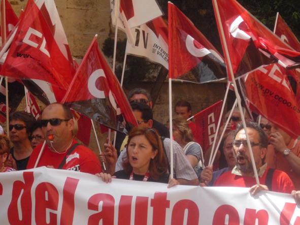 Manifestació dels treballadors i treballadores de Ford. Foto: CGT