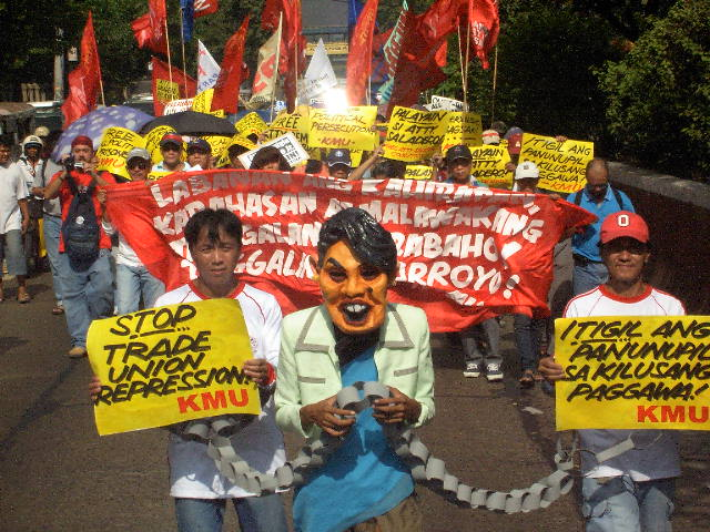 Protesta a Filipines contra la repressió antisindical