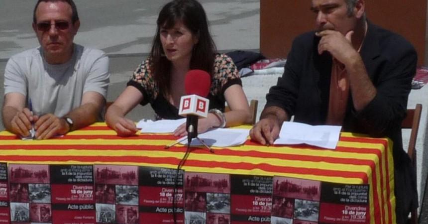 """Presenten el manifest """"Per la ruptura amb el Franquisme i la fi de la impunitat dels crims de la dictadura"""""""