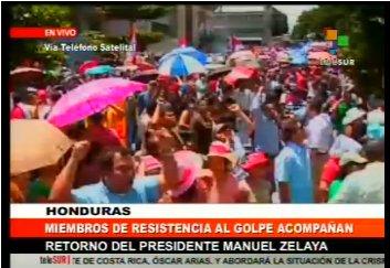 Telesur està seguint en directe el retorn del president hondureny