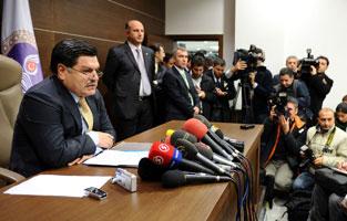 Roda de premsa on s'ha donat a conèixer la decisió d'il·legalitzar el DTP