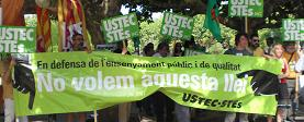 Protesta davant del Parlament el mateix dia d'aprovació de la LEC. FOTO: USTEC