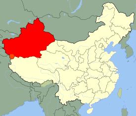 En vermell, regió Autònoma del Xinjiang Uyghur, on viuen majoritàriament els uigurs