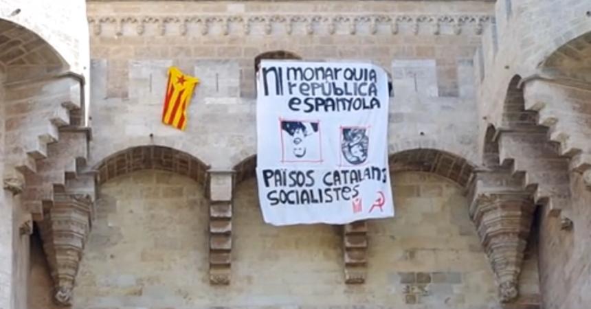 [Vídeo] Pancarta antimonàrquica a les Torres de Serrans de València