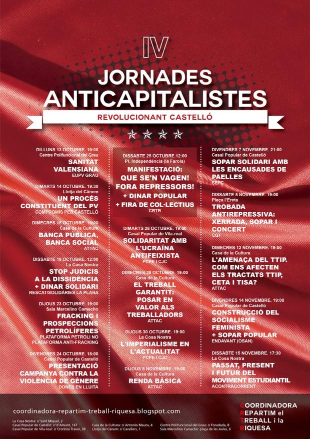 IV Jornades Anticapitalistes CRTR Castelló de la Plana cartell 2014