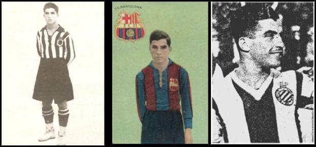 José Padrón amb l'equipació de la UD Las Palmas, el Barça i l'Espanyol.
