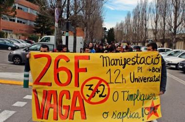 No al 3+2 i a l'EU2015, principals reivindicacions de la vaga del 26F