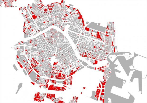 En vermell, solars urbanitzables actualment no utilitzats | Elaboració: Pau Ginés