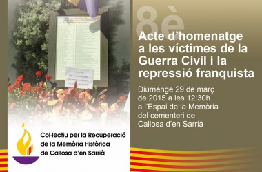 Callosa d'en Sarrià celebrà el 8è homenatge a les víctimes de la Guerra Civil i de la repressió franquista