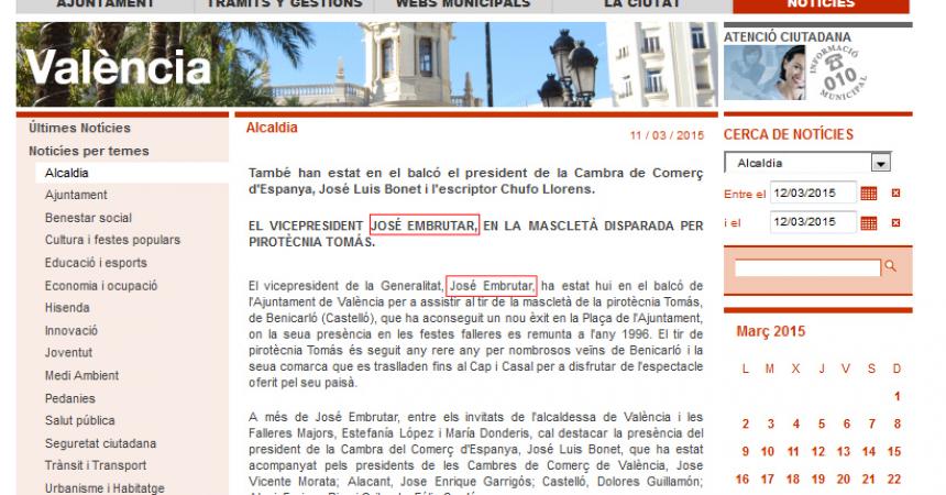 Nova mostra de menyspreu al valencià per part de l'ajuntament de Rita Barberà