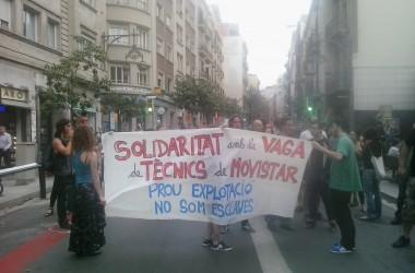 Nova jornada de mobilitzacions en solidaritat a la vaga indefinida de la #ResistènciaMovistar