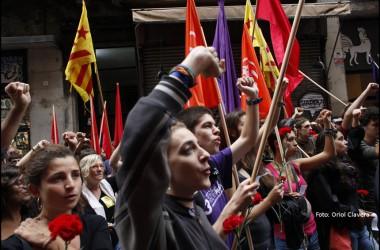 Arran, protagonista de les mobilitzacions del matí de la Diada a Barcelona