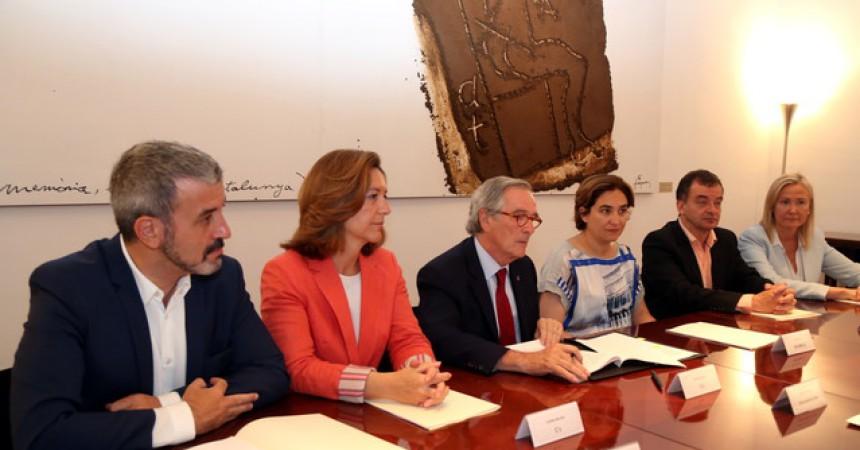 Tancament de files institucional a Barcelona al voltant del Mobile World Congress (MWC)
