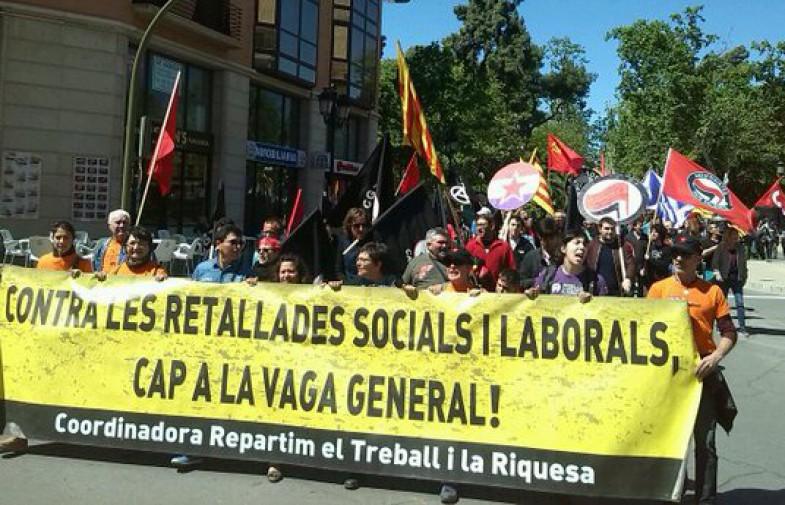 La Coordinadora Repartim el Treball i la Riquesa mobilitza quatre-centes persones a Castelló de la Plana