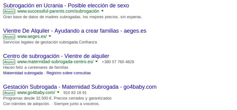 Anuncis de Google oferint ventres de lloguer i fins i tot l'opció de poder escollir el sexe del nadó.